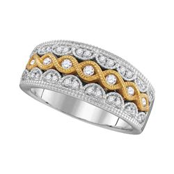 1/3 CTW Womens Round Diamond Yellow Twist Fashion Band Ring 10kt Two-tone White Gold - REF-54R5X