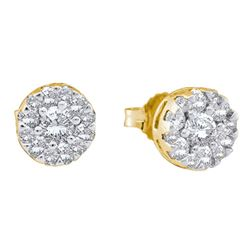 1/2 CTW Womens Round Diamond Flower Cluster Stud Earrings 14kt Yellow Gold - REF-49Y3N