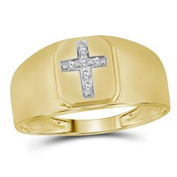 1/20 CTW Mens Round Diamond Brushed Cross Band Ring 14kt Yellow Gold - REF-31V9Y