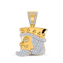 1/2 CTW Mens Round Diamond King Playing Card Charm Pendant 10kt Yellow Gold - REF-40F8W