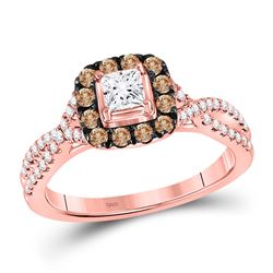 3/4 CTW Princess Diamond Solitaire Bridal Wedding Engagement Ring 14kt Rose Gold - REF-95W5H