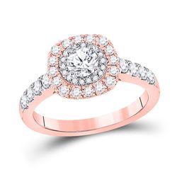 1 CTW Round Diamond Halo Bridal Wedding Engagement Ring 14kt Rose Gold - REF-165N5A