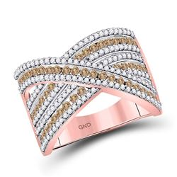 1 CTW Womens Round Brown Diamond Crossover Ring 10kt Rose Gold - REF-57W3H