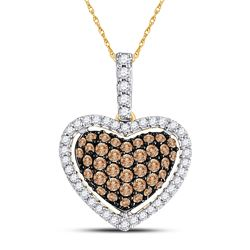 1/2 CTW Womens Round Brown Diamond Heart Pendant 10kt Yellow Gold - REF-24F5W
