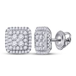 1 & 1/2 CTW Womens Round Diamond Cushion Cluster Earrings 14kt White Gold - REF-122N6A