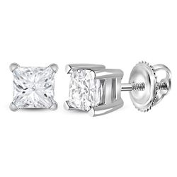 3/4 CTW Womens Princess Diamond Solitaire Earrings 14kt White Gold - REF-88A5M
