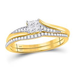 1/3 CTW Princess Diamond Cluster Bridal Wedding Ring 14kt Yellow Gold - REF-38R3X