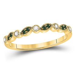 1/10 CTW Womens Round Emerald Diamond Stackable Band Ring 10kt Yellow Gold - REF-12Y2N