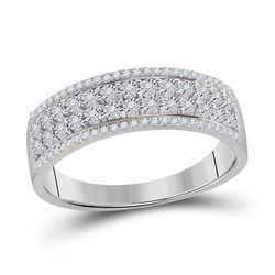 1/6 CTW Womens Round Diamond Band Ring 10kt White Gold - REF-37A5M