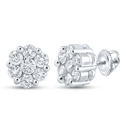 2 CTW Womens Round Diamond Flower Cluster Earrings 14kt White Gold - REF-211Y4N