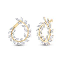 1 CTW Womens Round Diamond Twist Vine Hoop Earrings 14kt Yellow Gold - REF-95R5X