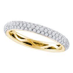 3/4 CTW Womens Round Pave-set Diamond Wedding Band Ring 14kt Yellow Gold - REF-74M9F