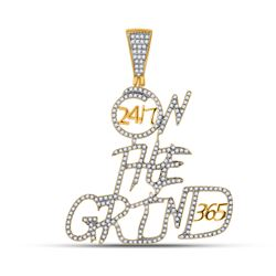 3/4 CTW Mens Round Diamond On The Grind Charm Pendant 10kt Yellow Gold - REF-61T4V