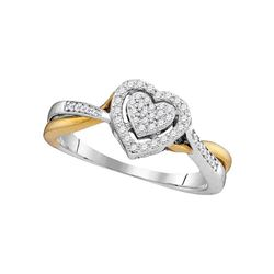 1/5 CTW Womens Round Diamond Heart Ring 10kt Two-tone Gold - REF-25V8Y