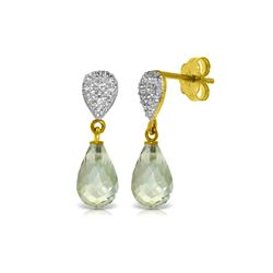 Genuine 4.53 ctw Green Amethyst & Diamond Earrings 14KT Yellow Gold - REF-25T6A