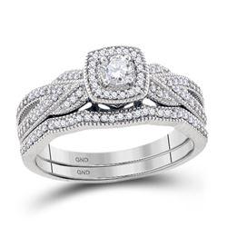 3/8 CTW Round Diamond Milgrain Bridal Wedding Ring Band Set 10kt White Gold - REF-61W4H