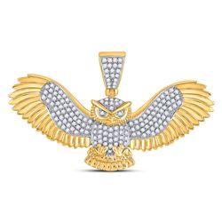 1 CTW Mens Round Diamond Owl Animal Charm Pendant 10kt Yellow Gold - REF-79T2V