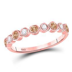 1/3 CTW Womens Round Brown Diamond Band Ring 10kt Rose Gold - REF-23W3H