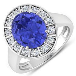 Natural 4.17 CTW Tanzanite & Diamond Ring 14K White Gold - REF-133R3F