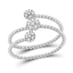 1/8 CTW Womens Round Diamond Spiral Flower Cluster Ring 10kt White Gold - REF-17R6X