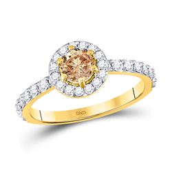 1 CTW Round Brown Diamond Solitaire Bridal Wedding Engagement Ring 14kt Yellow Gold - REF-88X5T
