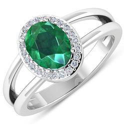 Natural 1.87 CTW Zambian Emerald & Diamond Ring 14K White Gold - REF-88R9F