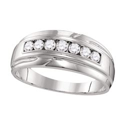 1/2 CTW Mens Round Diamond Wedding Single Row Band Ring 10kt White Gold - REF-53V7Y