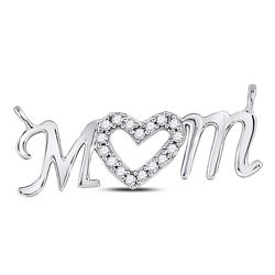 1/10 CTW Womens Round Diamond Mom Mother Heart Pendant 10kt White Gold - REF-15Y2N