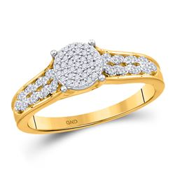 1/5 CTW Round Diamond Cluster Bridal Wedding Engagement Ring 10kt Yellow Gold - REF-23N3A