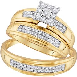 1/3 CTW His Hers Round Diamond Cluster Matching Wedding Set 10kt Yellow Gold - REF-49W6H