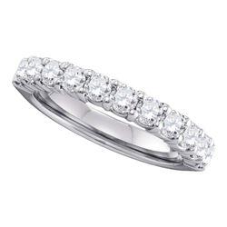 1 CTW Womens Round Pave-set Diamond Wedding Band Ring 14kt White Gold - REF-122H6R