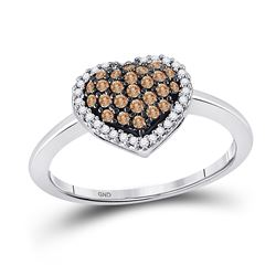 1/3 CTW Brown Round Diamond Cluster Womens Heart Ring 10k White Gold - REF-23A9M