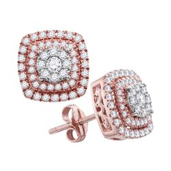 1 CTW Womens Round Diamond Cushion Cluster Stud Earrings 14kt Rose Gold - REF-95X5T