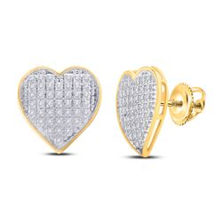 1/4 CTW Womens Round Diamond Heart Cluster Earrings 10kt Yellow Gold - REF-23A3M
