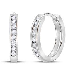 1/4 CTW Womens Round Diamond Hoop Earrings 10kt White Gold - REF-24H5R
