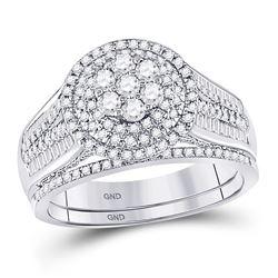 1 CTW Round Diamond Bridal Wedding Ring Band Set 10kt White Gold - REF-81M7F