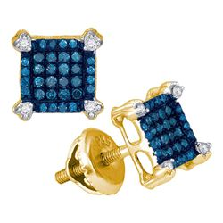 1/4 CTW Womens Round Blue Color Enhanced Diamond Square Cluster Earrings 10kt Yellow Gold - REF-16W4