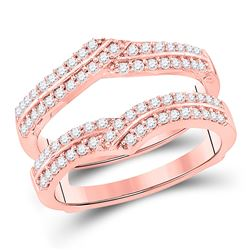 1/2 CTW Womens Round Diamond Wrap Ring 14kt Rose Gold - REF-83N9A