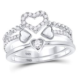 1/3 CTW Womens Round Diamond 2-Piece Beaded Heart Band Ring 14kt White Gold - REF-51H8R