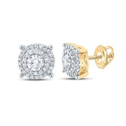 3/4 CTW Mens Round Diamond Cluster Earrings 10kt Yellow Gold - REF-64V2Y