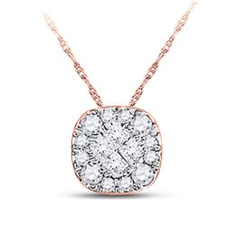 1/4 CTW Womens Princess Diamond Square Pendant 14kt Rose Gold - REF-21H8R