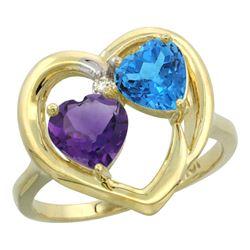 2.61 CTW Diamond, Amethyst & Swiss Blue Topaz Ring 14K Yellow Gold - REF-33X9M