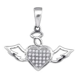 1/10 CTW Womens Round Diamond Heart Angel Pendant 10kt White Gold - REF-8Y3N