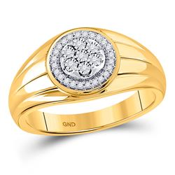 1/10 CTW Mens Round Diamond Circle Cluster Ring 10kt Yellow Gold - REF-33N5A