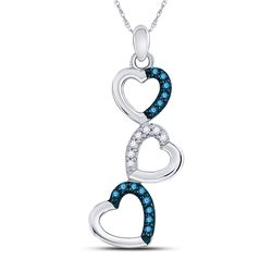 1/6 CTW Womens Round Blue Color Enhanced Diamond Heart Pendant 10kt White Gold - REF-12V2Y
