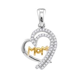 1/5 CTW Womens Round Diamond Two-tone Mom Heart Pendant 10kt White Gold - REF-13X5T