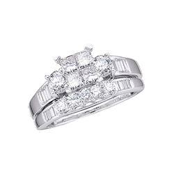 1 CTW Princess Diamond Bridal Wedding Ring Band Set 10kt White Gold - REF-92A3M