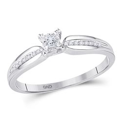 1/6 CTW Womens Princess Diamond Solitaire Promise Ring 10kt White Gold - REF-21A2M