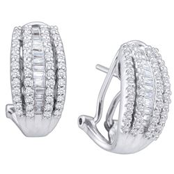 1 CTW Womens Baguette Diamond French-Clip Hoop Earrings 14kt White Gold - REF-115H8R