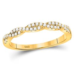 1/4 CTW Womens Round Diamond Twist Stackable Band Ring 10kt Yellow Gold - REF-29V4Y